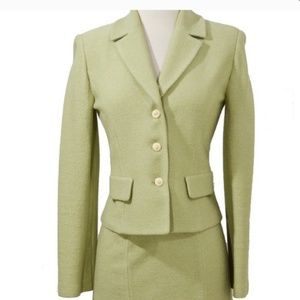 St. John Collection sage green boucle knit blazer